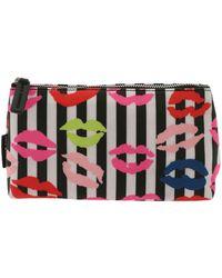 Lulu Guinness - Lip Blots Striped Black And White Beauty Case - Lyst