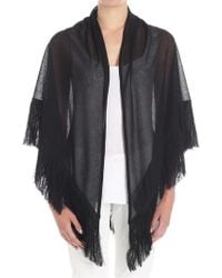 Jucca - Black Cape With Fringes - Lyst