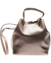 Hogan - Bronze Colored Leather Bucket Bag - Lyst