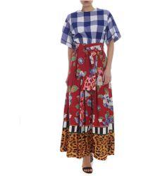 Stella Jean - Abito ampio stampa fiori e quadri - Lyst