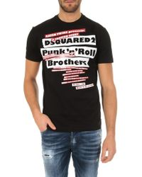 39f2d56d DSquared² - Punk'n'roll Brothers T-shirt In Black Cotton - Lyst