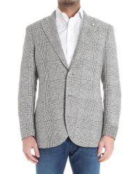 Luigi Bianchi Mantova - White And Taupe Rough Check Jacket - Lyst