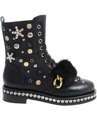 Le Silla - Black Ankle Boots With Studs And Rhinestones - Lyst
