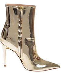 Elisabetta Franchi Ankle Boots In Golden Eco-leather - Multicolour