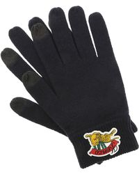 KENZO - Black Touch Screen Gloves With Rubberized Logo - Lyst