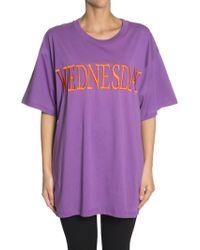 Alberta Ferretti - Wednesday Oversized Embroidered Cotton-jersey T-shirt - Lyst