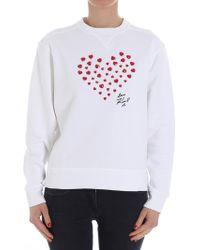 Karl Lagerfeld - White Sweatshirt With Hearts - Lyst