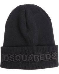 DSquared² - Black Branded Beanie - Lyst