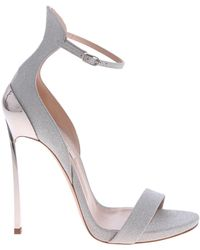 d6264478dc Casadei Woman Techno Blade Matte And Metallic Leather Sandals Beige ...