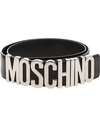 Moschino - Black Belt With Silver Logo - Lyst