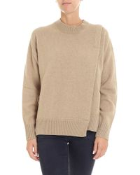 Zucca - Sand-colored Pullover With Front Vent - Lyst