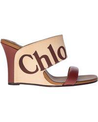 Chloé - Sandali beige con logo - Lyst