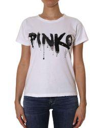 Pinko - White Forare T-shirt - Lyst