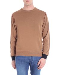 Trussardi - Camel Colored Pullover With Black Cuffs - Lyst