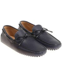 Tod's - Blue Leather Moccasins - Lyst