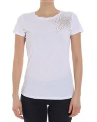 Patrizia Pepe - White T-shirt With Rhinestones ( Jeans) - Lyst