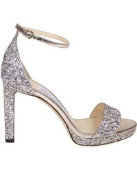 3d5f1843105 Lyst - Jimmy Choo Misty Glittered Sandals in Gray