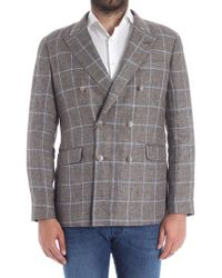 Hackett - Brown And Light Blue Checked Jacket - Lyst