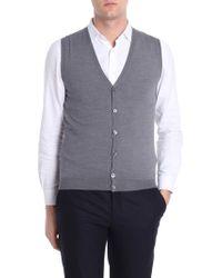 Zanone - Gray V-neck Waistcoat - Lyst