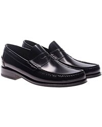 Loake - Black Leather Loafers - Lyst