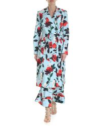 Alice + Olivia - Floral Long Overcoat In Floral Light Blue - Lyst