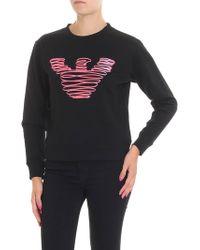 Emporio Armani - Black Sweatshirt With Logo Embroidery - Lyst