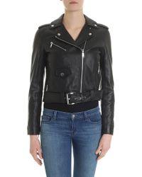 Michael Kors - Black Biker Jacket With Notch Lapels - Lyst