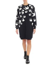 McQ - Black Dress With Swallow Print - Lyst