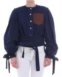 JW Anderson - Blue Denim Jacket With Flared Sleeves - Lyst