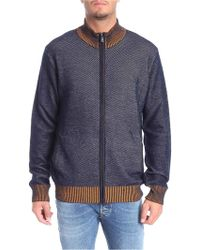 Trussardi - Blue, Gray And Yellow Knitted Cardigan - Lyst