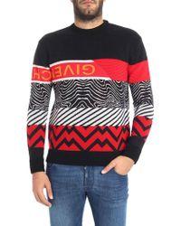 Givenchy - Pullover nero e rosso motivo geometrico - Lyst