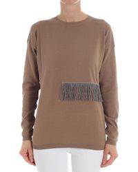 Fabiana Filippi - Camel Colored Sweater With Fringes - Lyst