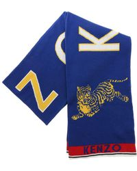 """KENZO - """"jumping Tiger"""" Blue Scarf - Lyst"""