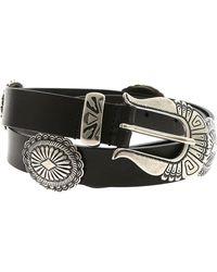 Alberta Ferretti - Black Belt With Silver Metal Details - Lyst
