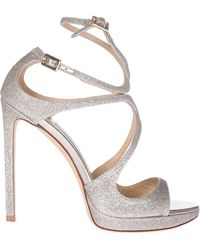 Jimmy Choo - Lance 120 Glittered Leather Sandals - Lyst