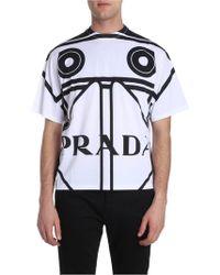 Prada - White T-shirt With Black Prints - Lyst