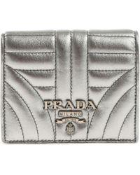 Prada - Silver Nappa Leather Branded Wallet - Lyst