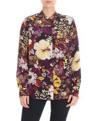 Aspesi - Purple Floral Printed Shirt - Lyst