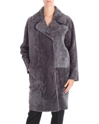 DROMe - Grey Reversible Sheep Leather Coat - Lyst