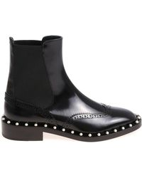 Twin Set - Black Chelsea Ankle Boots With Pearly Inserts - Lyst