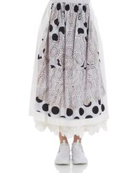 Comme des Garçons - White Skirt With Gray Print - Lyst