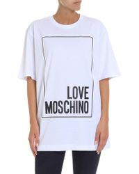 Love Moschino - White T-shirt With Glittered Logo Print - Lyst
