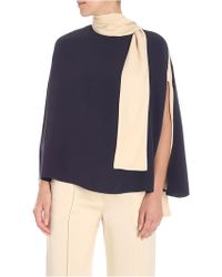 Valentino - Blue And Beige Silk Cape - Lyst