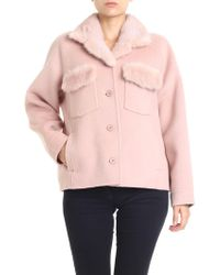 P.A.R.O.S.H. - Pink Loverx Coat With Fur Inserts - Lyst