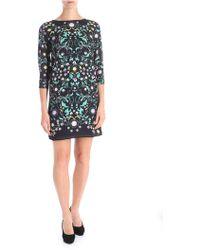 Trussardi - Black Multicolour Floral Printed Dress - Lyst