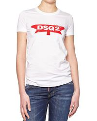 DSquared² - White Crewneck T-shirt With Logo - Lyst