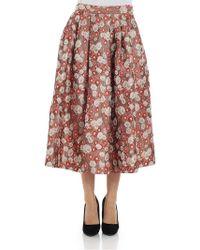 Alberto Biani - Jacquard Fabric Pleated Skirt - Lyst