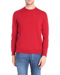 Emporio Armani - Embroidered Logo Red Pullover - Lyst