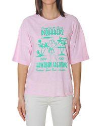 DSquared² - Hawaiian Dreaming Pink T-shirt - Lyst