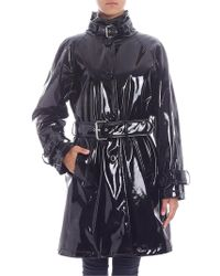 Moschino - Black Patent Leather Padded Trench Coat - Lyst